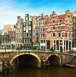 Prinsengracht Canal and typical Dutch houses behind the bridge in winter, Amsterdam, The Netherlands stock photo