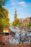 Prinsengracht kanal i Amsterdam Fotografering för Bildbyråer