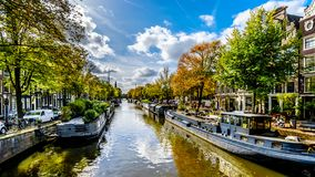 The Prinsengracht Prince Canal in Amsterdam in Holland stock photos