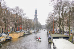 Prinsengracht with Westerkerk in Amsterdam Royalty Free Stock Photography