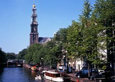 Prinsengracht and Westerkerk, Amsterdam. Royalty Free Stock Photos