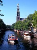 Prinsengracht and Westerkerk, Amsterdam. Royalty Free Stock Photography