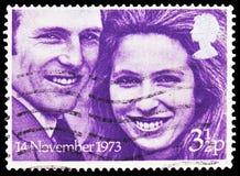Prinses Anne en Kapitein Mark Philips, Koninklijke Huwelijken serie, circa 1973 stock fotografie