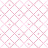 Prinses Background Pattern met Roze Kroonvoorraad Vectorillustr Stock Foto