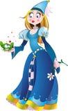 Prinses in blauw met kikker Royalty-vrije Stock Afbeeldingen