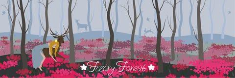 Prinses die een hert op de fee bosachtergrond berijdt voor het verschillende vectorbeeld van ontwerpelementen vector illustratie