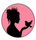 Prinses die een kleine vogel in de palm houden royalty-vrije illustratie