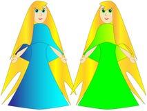Prinses of een fee in een blauwe en groene kleding stock afbeelding