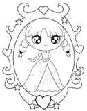 Prinses in een spiegel kleurende pagina Royalty-vrije Stock Foto's