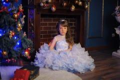 Prinses in een witte kleding met blauw naast de boom met een gift Stock Afbeelding