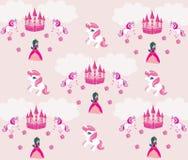 Prinses, eenhoorn en kasteelachtergrond Royalty-vrije Stock Afbeelding
