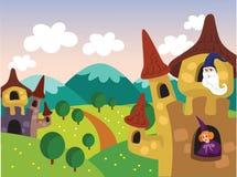 Prinses en Heksen op de Kasteel Vectorillustratie Royalty-vrije Stock Afbeelding