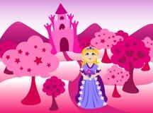 Prinses en roze kasteellandschap Stock Foto