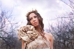 Prinses in gouden kleding Royalty-vrije Stock Afbeeldingen