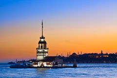 Prinses Island in Istanboel, bij zonsondergang, de moskee van Hagia Sophia Stock Afbeeldingen