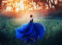 Prinses, met een elegant kapsel, looppas door een bosweide om een vurige zonsondergang met een nevel te ontmoeten Luxueuze blauw royalty-vrije stock afbeeldingen