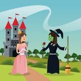 Prinses met lelijke heks die appelkasteel en landschap geven Stock Foto