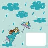Prinses met paraplu royalty-vrije illustratie