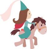 Prinses op een paard Stock Foto