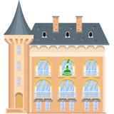 Prinses op het balkon van een middeleeuws kasteel Stock Afbeelding