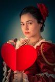 Prinses Portrait met Hart Gevormde Kaart Stock Foto
