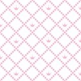 Prinsessa Background Pattern med vektorn Illustr för rosa färgkronamateriel Vektor Illustrationer