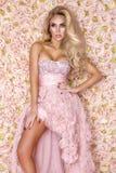 Prinsessa brud i rosa br?llopskl?nning H?rlig ung kvinna - bild royaltyfri fotografi