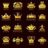 Prinsessa för kungarike för emblem för logo och för lyx för tiara för symbol för prydnad för högvärdigt guld- gult emblem för kro stock illustrationer