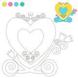 Prinsessa för vagn för illustration för tecknad film för färgläggningbok eller sidaför barnutbildning Royaltyfria Foton