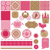 Prinsessa Girl Birthday Set Arkivbild