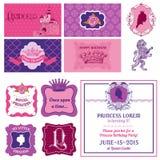 Prinsessa Girl Birthday Set Fotografering för Bildbyråer