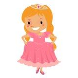Prinsessa Girl som bär en rosa klänning royaltyfri illustrationer