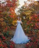 Prinsessa i höstträdgården royaltyfria bilder