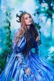 Prinsessa i magisk skog Fotografering för Bildbyråer