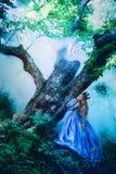 Prinsessa i magisk skog arkivfoto