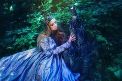Prinsessa i magisk skog royaltyfri bild