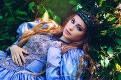 Prinsessa i magisk skog arkivbild