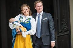 Prinsessa Madeleine av Sverige med prinsessan Leonore och Chris One Arkivfoton