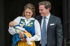 Prinsessa Madeleine av Sverige med prinsessan Leonore och Chris One Arkivfoto