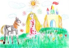 Prinsessa och hästen av slotten Arkivfoton