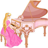 Prinsessa Playing pianot stock illustrationer