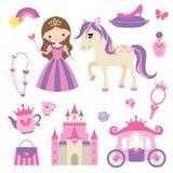 Prinsessa-, ponny- och tillbehöruppsättning stock illustrationer