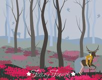 Prinsessa som rider en hjort i bakgrunden för felik skog för olik bild för designbeståndsdelvektor royaltyfri illustrationer