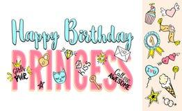 Prinsessabokstäver för den lyckliga födelsedagen med flickaktigt klottrar och handen drog uttryck för kortdesignen, t-skjortan fö Arkivfoton
