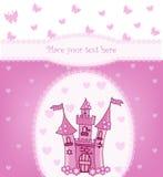 Prinsessakort med den magiska slotten Royaltyfri Bild
