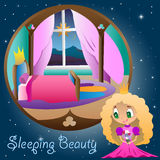 Prinsessan i hennes rum Stock Illustrationer