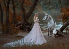 Prinsessan mötte en enhörning i skogen den blonda flickan med ett försiktigt smink, är iklädd en lång tappningklänning med royaltyfri bild