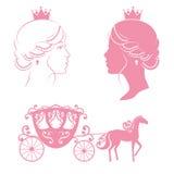 Prinsessan och vagnen med hästen i rosa färger färgar Arkivfoto