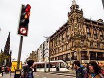 Prinsgatan i den gamla staden för Edinburg, UK Arkivfoto