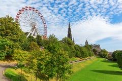 Prinsgataträdgårdar i Edinburg, Skottland Arkivfoton